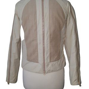 Armani Exchange Cream Quilted Motorcycle Jacket